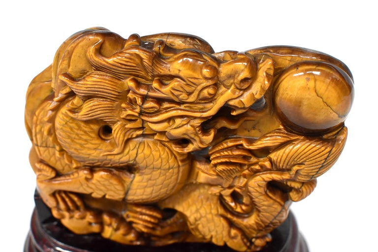 Natural Tiger's Eye Dragon Statue, Hand-Carved For Sale 4