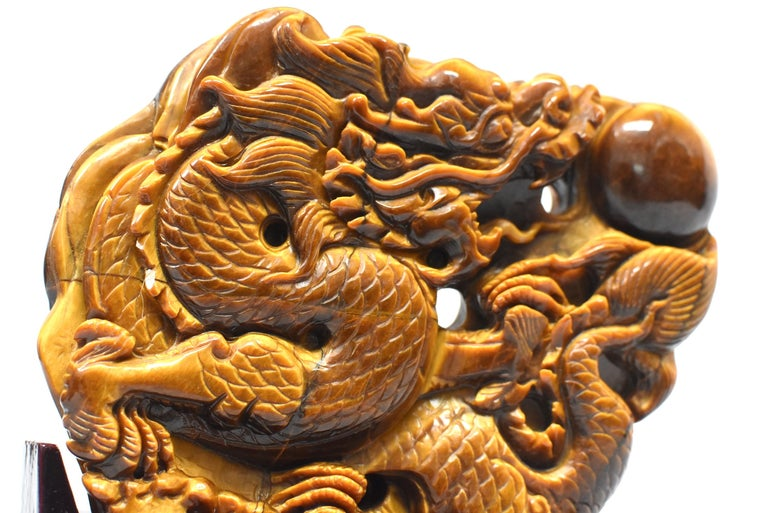 Natural Tiger's Eye Dragon Statue, Hand-Carved For Sale 9