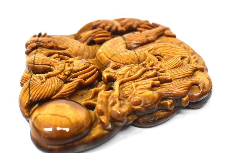 Natural Tiger's Eye Dragon Statue, Hand-Carved For Sale 14