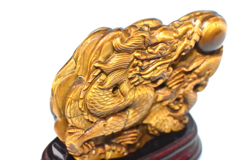 Natural Tiger's Eye Dragon Statue, Hand-Carved In New Condition For Sale In Somis, CA