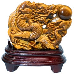 Natural Tiger's Eye Dragon Statue, Hand-Carved