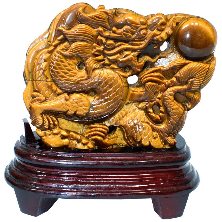 Natural Tiger's Eye Dragon Statue, Hand-Carved For Sale