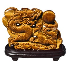 Natural Tiger's Eye Statue Dragon Chasing Pearl Statue