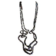 Keshi Cultured Pearls Gold Plated Hematite Oxidized Silver Marcasite Necklace