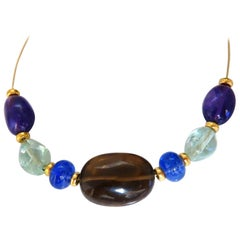 Natural Topaz Amethyst Aquamarine Tanzanite Gold Bead Necklace 14 Karat 18 Karat