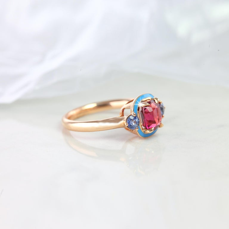 Natural Tourmaline And Ceylon Sapphire Cocktail Ring  Gold metal: 14k Rose Gold GemStone Shape: Cushion Cut Main Stone: 3.35Carats Side Stones: 0.24 Carats Total Carat Weight: 3.59Carats Color: Pink Clarity: Clean Comments: Art Deco Ring Cut: Very