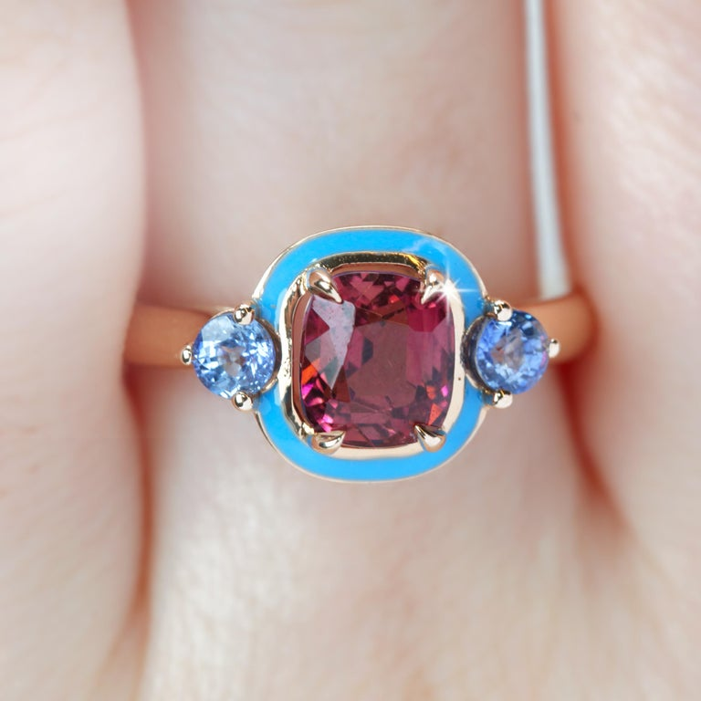 Art Deco Natural Tourmaline and Ceylon Sapphire Cocktail Ring For Sale