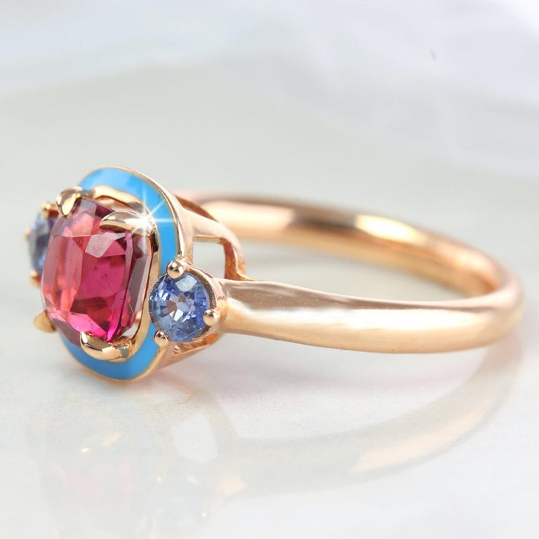 Cushion Cut Natural Tourmaline and Ceylon Sapphire Cocktail Ring For Sale