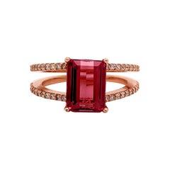 Natural Tourmaline Diamond Ring 14k Rose Gold 2.2 TCW Certified