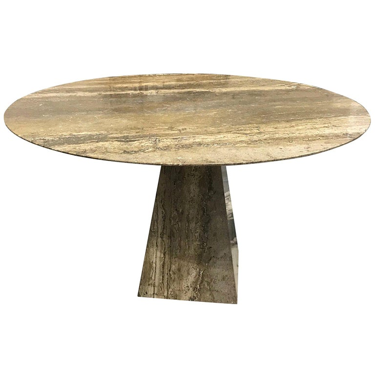 Natural Travertine Table in the Style of Angelo Mangiarotti