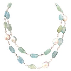 Natural Tumbled Aquamarine Beryl and Baroque Pearl Necklace