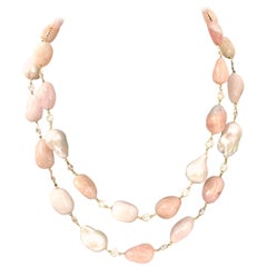 Natural Tumbled Morganite and Baroque Pearl Necklace