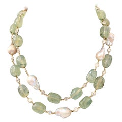 Natural Tumbled Prehnite and Baroque Pearl Long Necklace