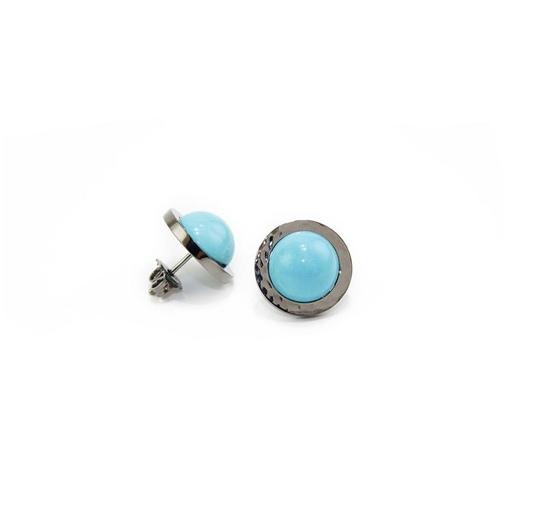 Artisan Natural Turquoise 18 Karat Gold Stud Earrings For Sale