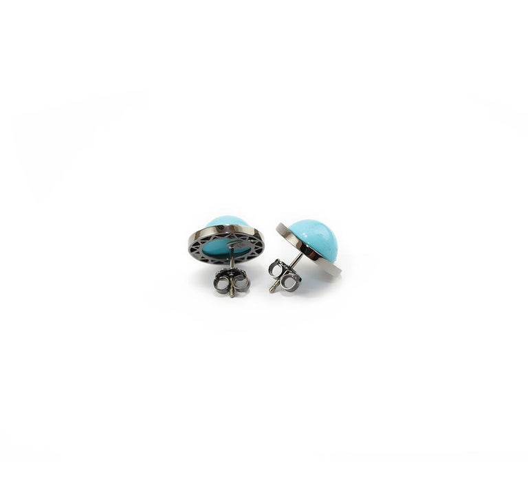 Natural Turquoise 18 Karat Gold Stud Earrings In New Condition For Sale In Torre del Greco, IT
