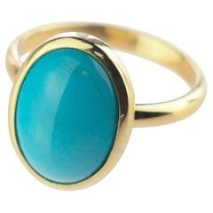 Natural Turquoise 18 Karat Yellow Gold Modern Bezel Set Oval Cocktail Ring