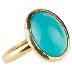 Natural Turquoise 18 Karat Yellow Gold Solitaire Bezel Set Oval Cocktail Ring