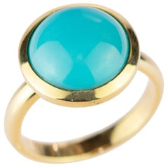 Natural Turquoise 18 Karat Yellow Gold Solitaire Round Cabochon Cocktail Ring