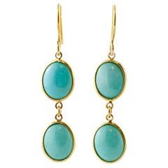 Natural Turquoise, 18 Karat Yellow Gold, Simple Drop Earrings