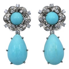 Natural Turquoise and Diamond Pendant Clip-On Earrings