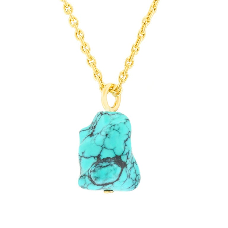 Natural Turquoise and Gold Pendant For Sale 6