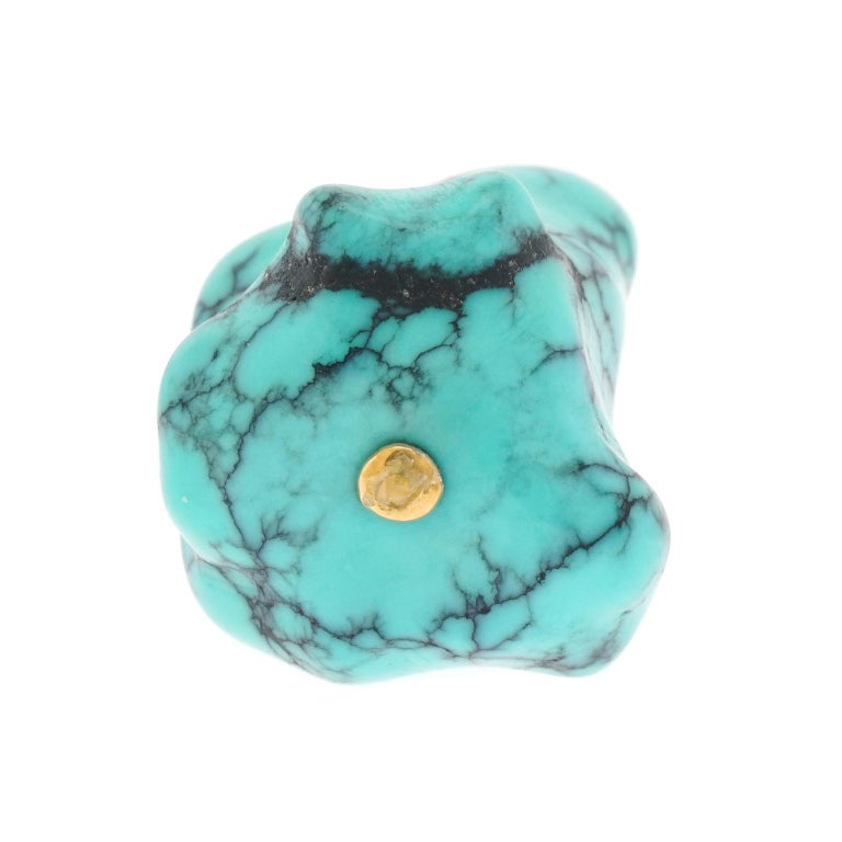 Women's or Men's Natural Turquoise and Gold Pendant For Sale