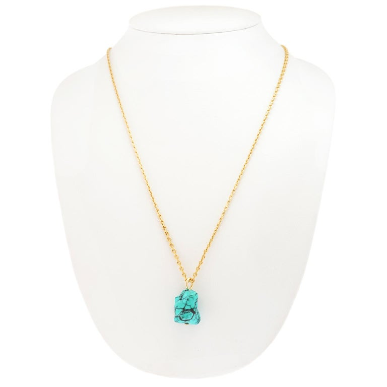Natural Turquoise and Gold Pendant For Sale 2