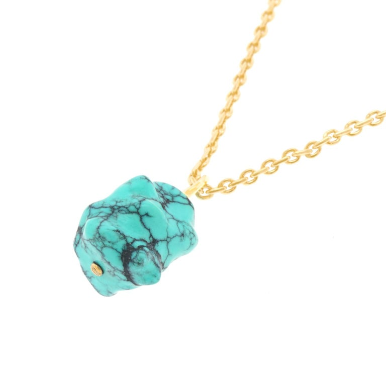 Natural Turquoise and Gold Pendant For Sale 3