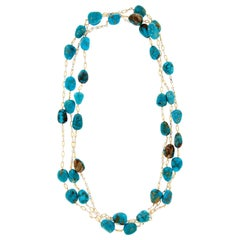 Natural Turquoise by The Yard 18 Karat Gold Necklace