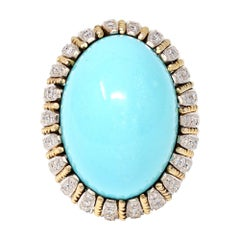 Natural Turquoise Cabochon and Diamond Cocktail Ring c.1970 in 14k