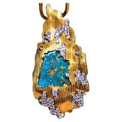 Natural Turquoise Diamond Pendant Necklace, 18K Gold