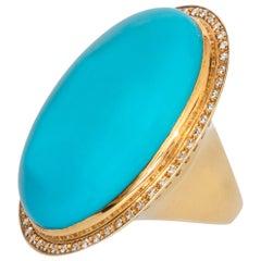 Natural Turquoise Diamond 18 Karat Gold Bezel Set Oval Cut Cocktail Craft Ring