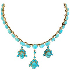 Natural Turquoise Estate Necklace and Earring Suite Set 18 Karat Yellow Gold