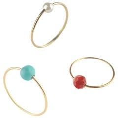Natural Turquoise Pearl Garnet Round Band 18 Karat Gold Planet Boho Ring