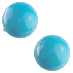 Natural Turquoise Round Cabochon 18 Karat Gold Stud Chic Cocktail Earrings