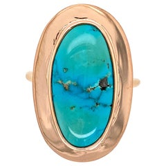 Natural Turquoise Victorian Style Gold Ring Estate Fine Jewelry