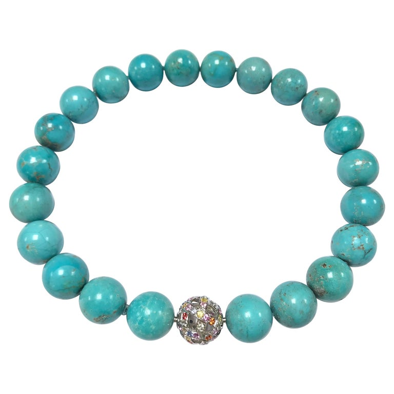 Natural Turquoises and White Gold 18K Colorful Sapphires Clasp Beaded Necklace For Sale