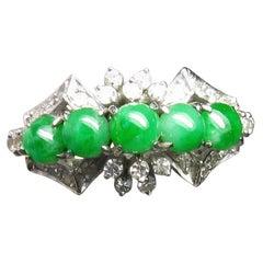 Natural Type A Jade 30 Diamond Ring 18 Karat White Gold