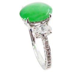 Natural Type a Jadeite Jade and Oval Diamond Cocktail Ring, Apple Green Color