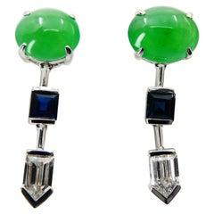 Certified Natural Type A Jade, Diamond & Sapphire Drop Earrings, Apple Green