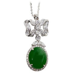 Natural Type A Jadeite Jade Diamond Pendant Drop Necklace, Deep Green Color