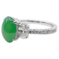Natural Type A Jadeite Jade Diamond Ring, Apple Green Color, Superb Setting