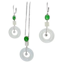 Natural Type A Jadeite Jade Earrings & Pendant Set, 18K White Gold and Diamonds