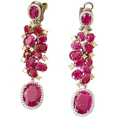 Natural Un-Heat Ruby Long Earrings Set in 18 Karat Gold with Diamonds