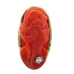 Natural Undyed Coral Cameo 1915 Art Deco 16 Karat Ring