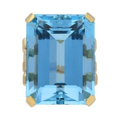 Natural Unenhanced Aquamarine Cocktail Ring, circa 1940