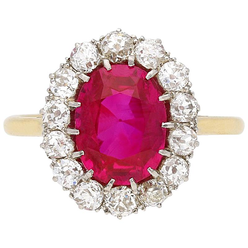 Natural Unenhanced Burmese Ruby and Diamond Coronet Cluster Ring, circa 1910