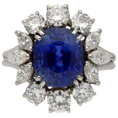 Natural Unenhanced Ceylon Sapphire and Diamond Cluster Ring, circa 1950
