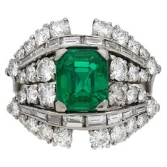 Natural Unenhanced Colombian Emerald and Diamond Cluster Ring