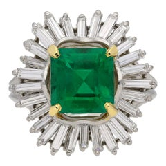 Natural Unenhanced Emerald and Diamond Cluster Ring by Boucheron, circa 1960